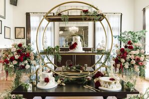 Dramatic Geometric Cake Table with Oversize Floral Arrangements