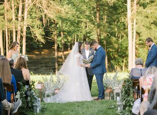 "Jordan Lee and Wayne Lee had a whimsical, romantic backyard wedding that was truly inspired by family. ""My Nana was always one of the most important p"