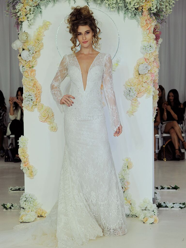 Julie Vino Fall 2018 long sleeve wedding dress with plunging neckline