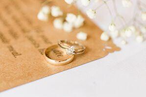 Custom Wedding Invitation and Gold Rings