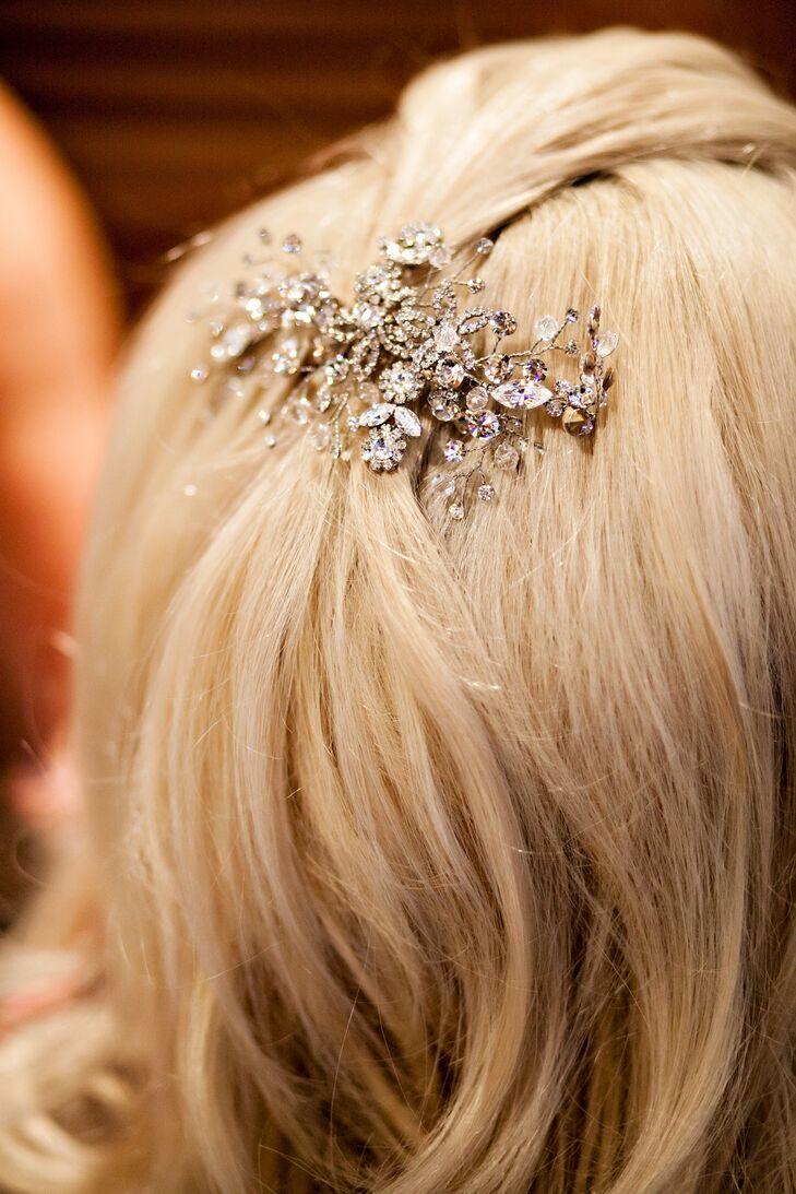 Intricate Silver and Rhinestone Hair Clip