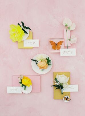 Colorful Boutonnieres with Calligraphed Cards