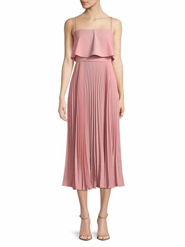 pink pleated popover tea-length dress