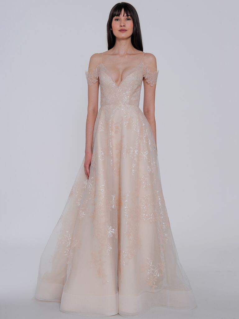 Lazaro Spring 2019 Blush Wedding Dress