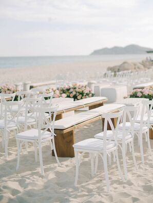 White Cross-Back Chairs on Beach in Cabo San Lucas, Mexico