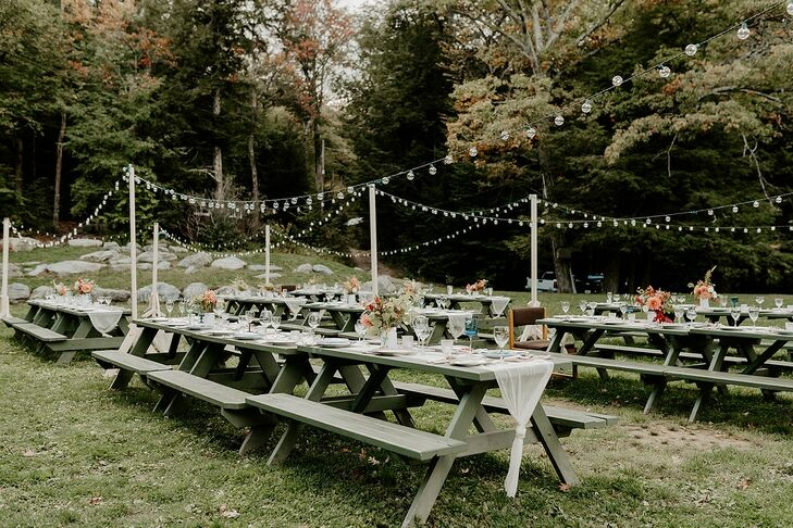 Casual Backyard Reception with Picnic Tables and String Lights