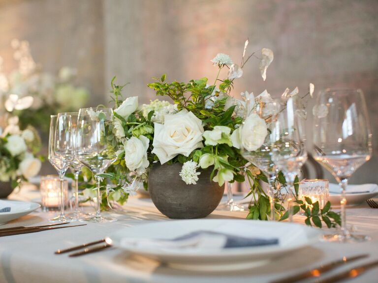 Wedding Centerpieces White and Green Roses