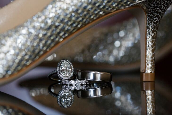 Engagement and Wedding Rings Under Shoe