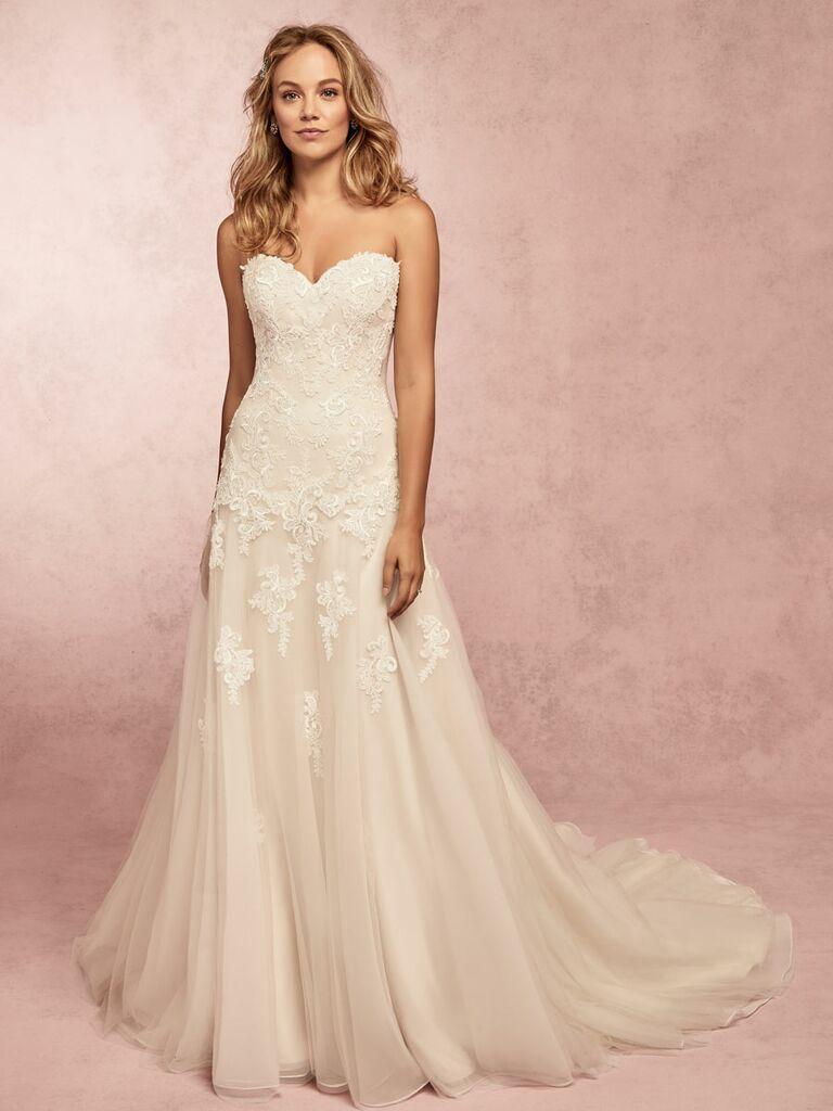 Rebecca Ingram Spring 2019 off the shoulder wedding dress with beading