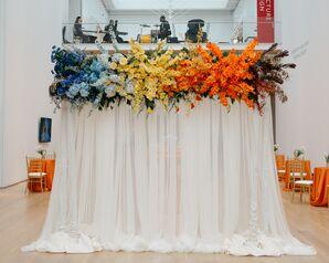 Rainbow Floral Arrangements of Gladiolus and Hydrangeas