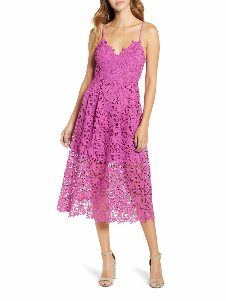 Pink lace spring wedding guest dress