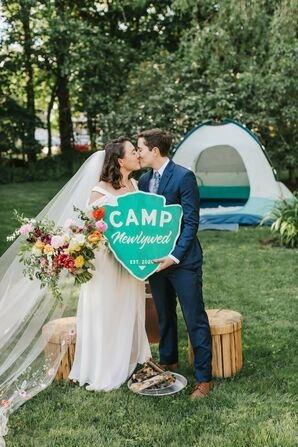 Couple Kissing and Holding Camp-Inspired Rustic Sign