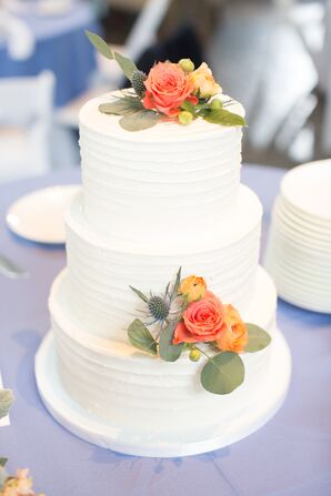 Buttercream Wedding Cake With Coral Roses