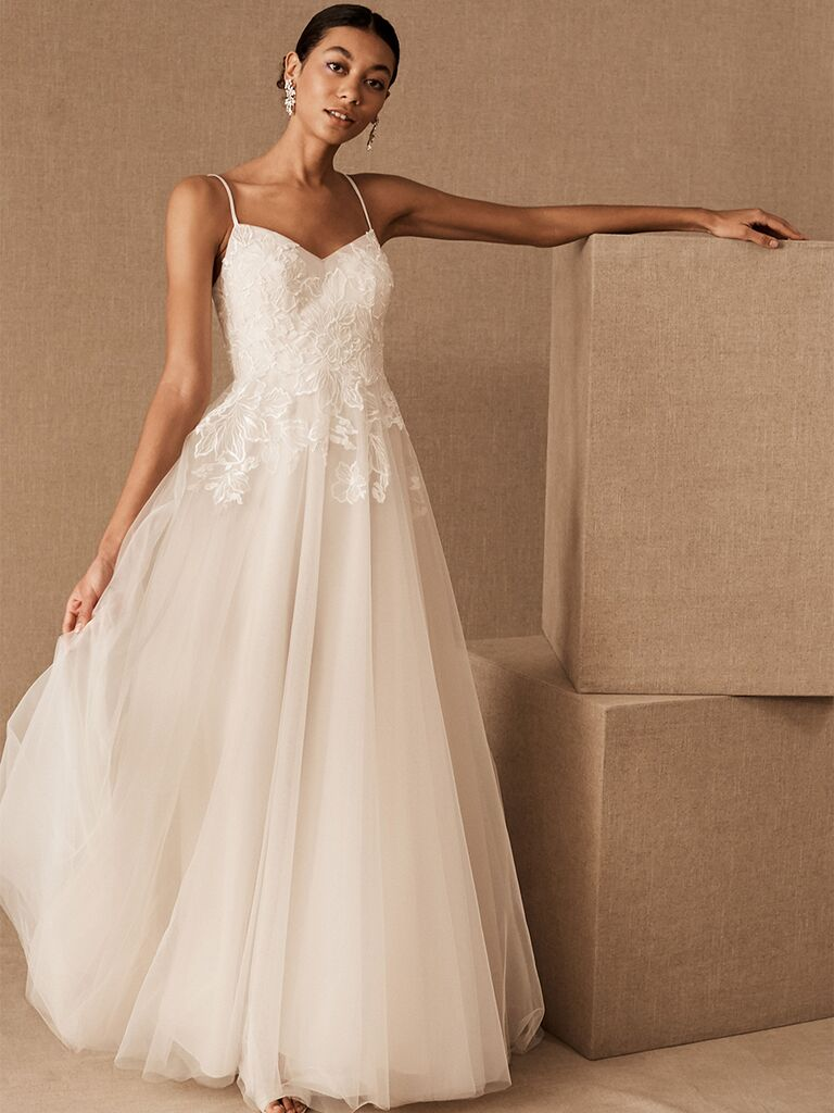 BHLDN A-line dress with lace bodice and tulle skirt