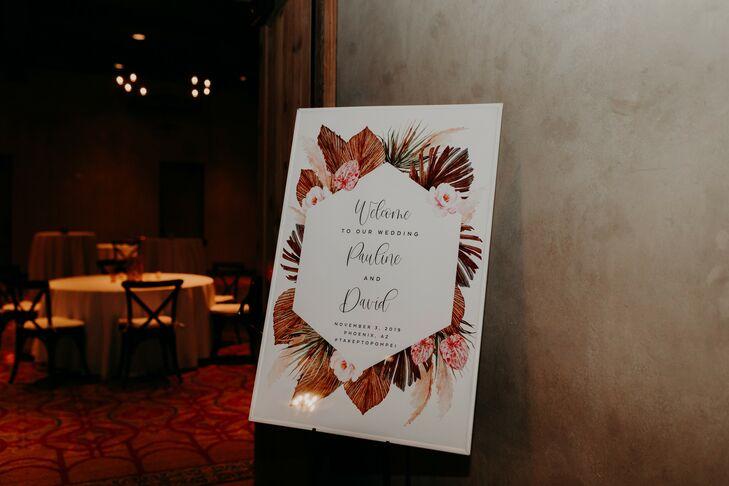 Moody Floral Sign at Scottsdale, Arizona, Wedding