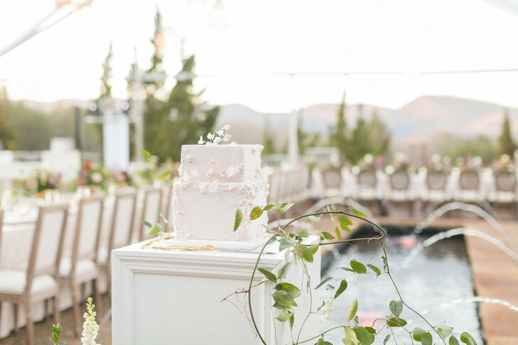 Whimsical Square Wedding Cake with Delicate Flowers