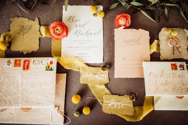 Vintage Wedding Invitations with Calligraphy