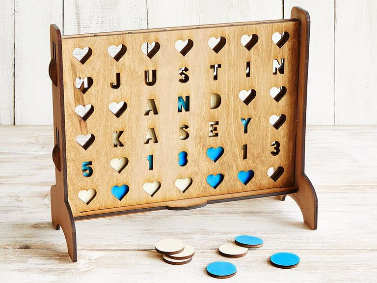 Personalized wood four across game for sixth anniversary