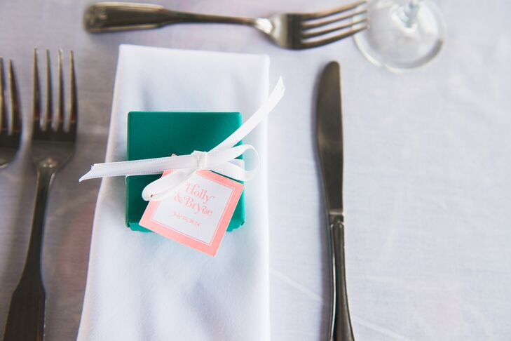 A small green box with Lake Champlain chocolates were given to the guests as favors.