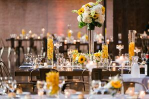Summery Sunflower and Hydrangea Centerpieces