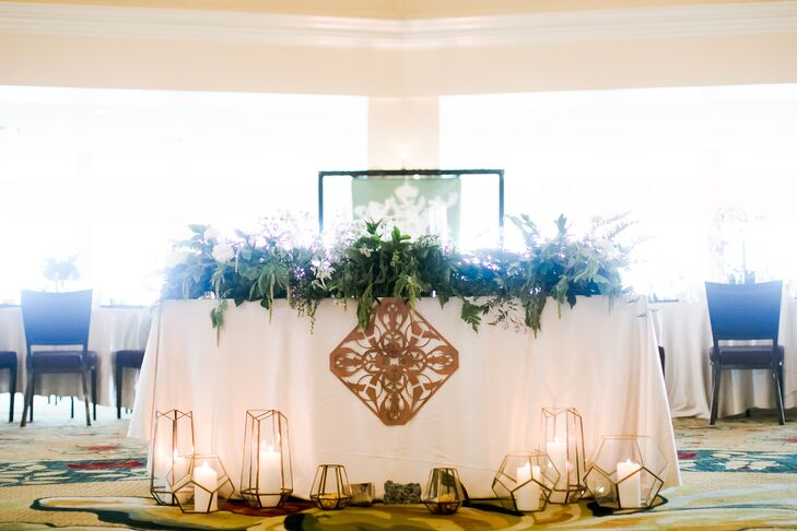 Geometric Sweetheart Table Lanterns and Signage