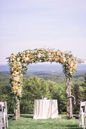 Dramatic Peach Garden Rose and Tulip Wedding Arch
