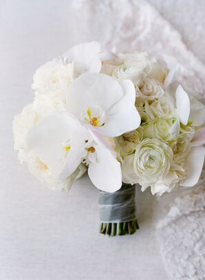 Elegant White Bouquet with Orchids and Roses