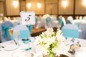 White Lily and Hydrangea Centerpiece