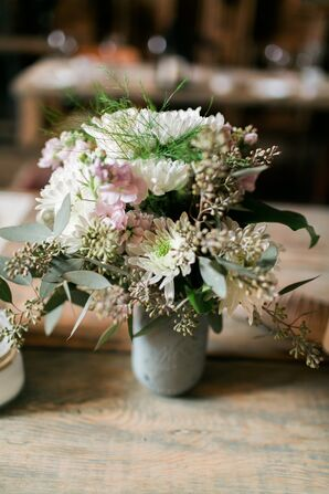 Vintage Mason Jar Centerpiece with Pale Flowers