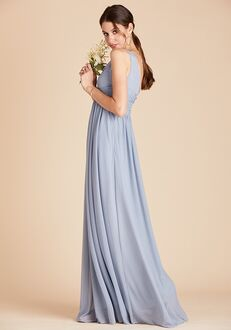 Birdy Grey Lianna Mesh Dress in Dusty Blue V-Neck Bridesmaid Dress