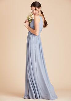 Birdy Grey Lianna Mesh Dress in Dusty Blue V-Neck Bridesmaid Dress