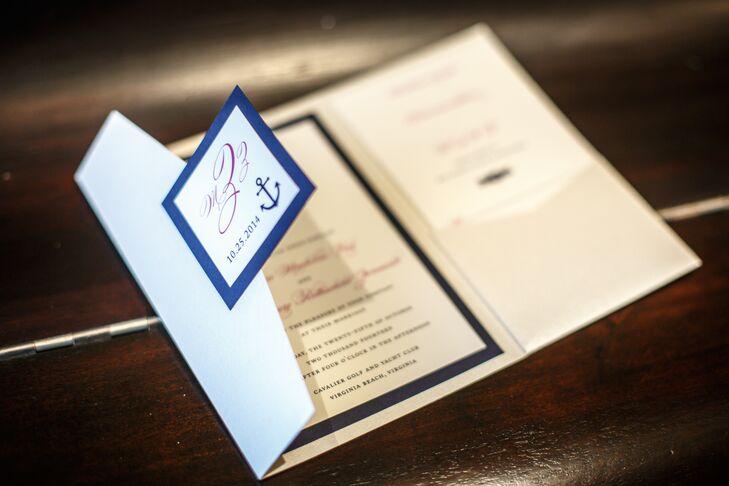 Nautical Navy And White Wedding Invitations