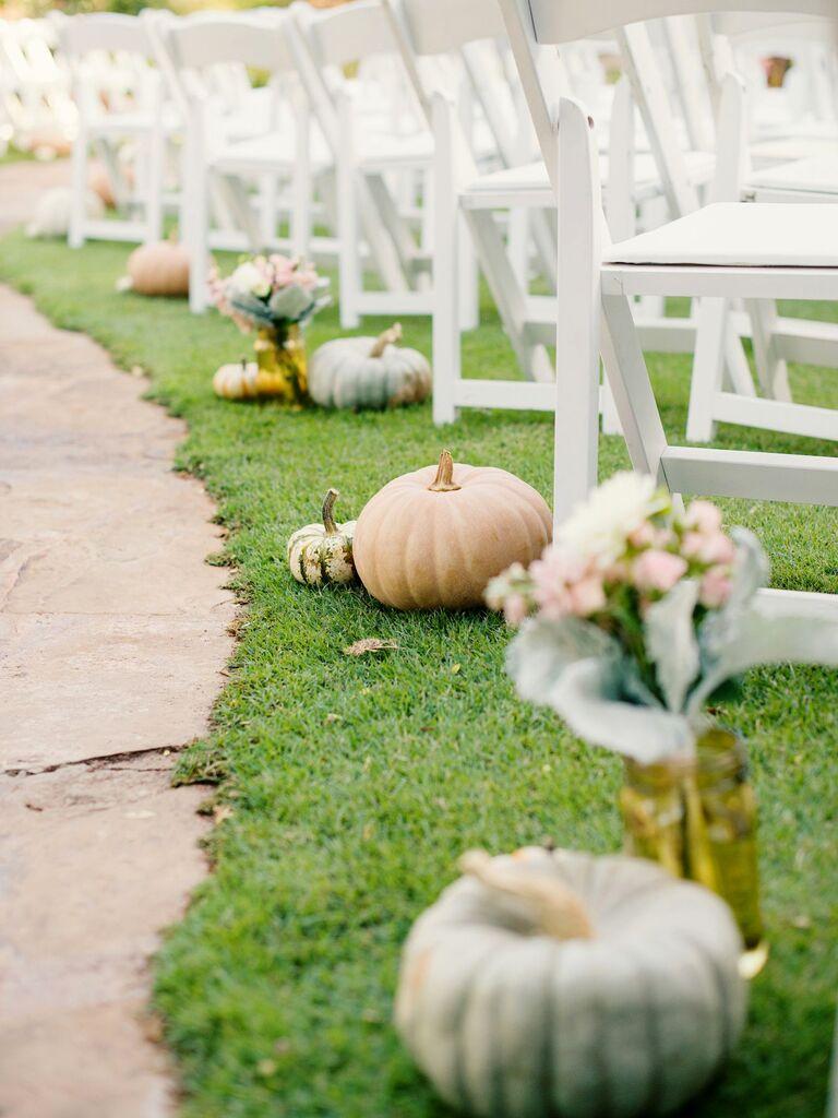 Autumnal Pumpkins and Gourds ceremony aisle decor