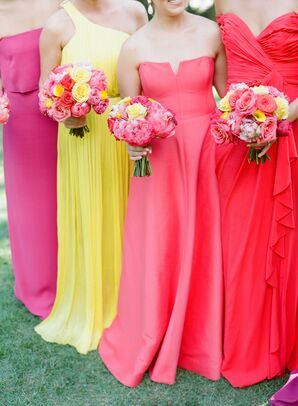 Bright Mismatched Bridesmaid Dresses with Bright Bouquets