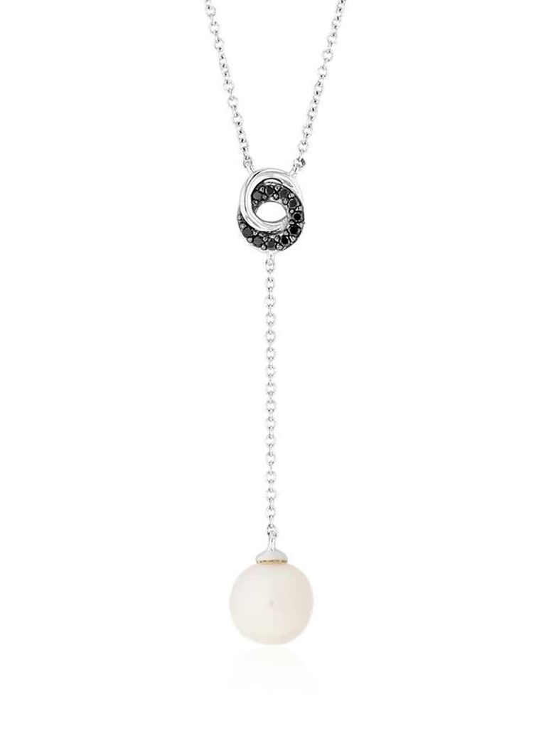 Drop wedding pearl necklace with black diamonds