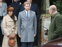 prince harry meghan markle listen to prince philip at christmas day service 2017