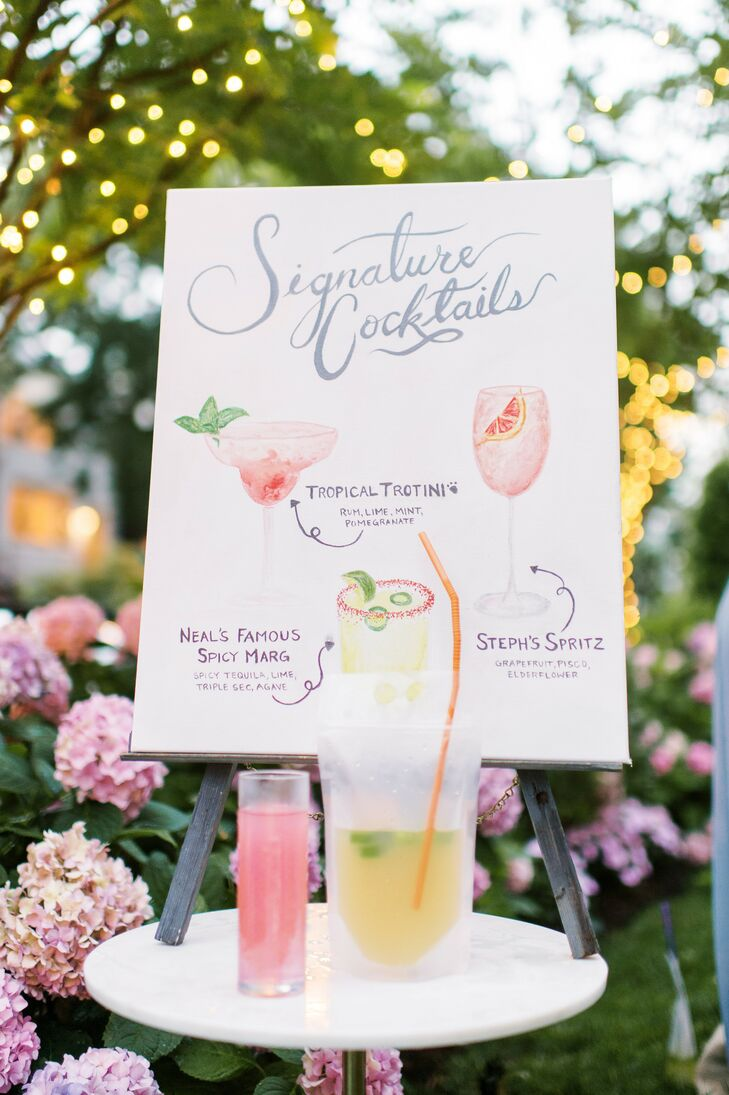 Illustrated Signature Cocktail Sign for At-Home Minimony in Washington, D.C.