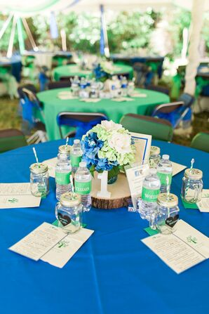 Rustic Blue and Green Centerpieces