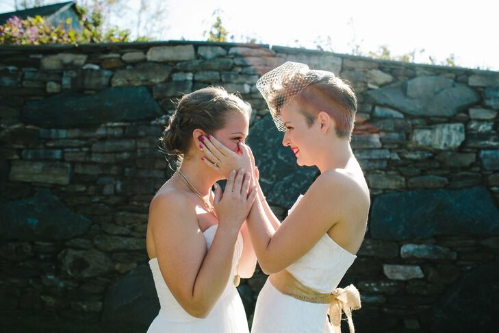Courtney and Tara shared an emotional moment when they saw each other for the first time before the ceremony.