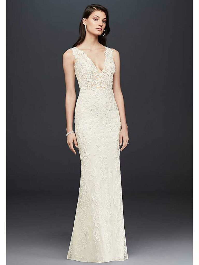 Fitted simple lace wedding dress with plunging neckline and illusion open back