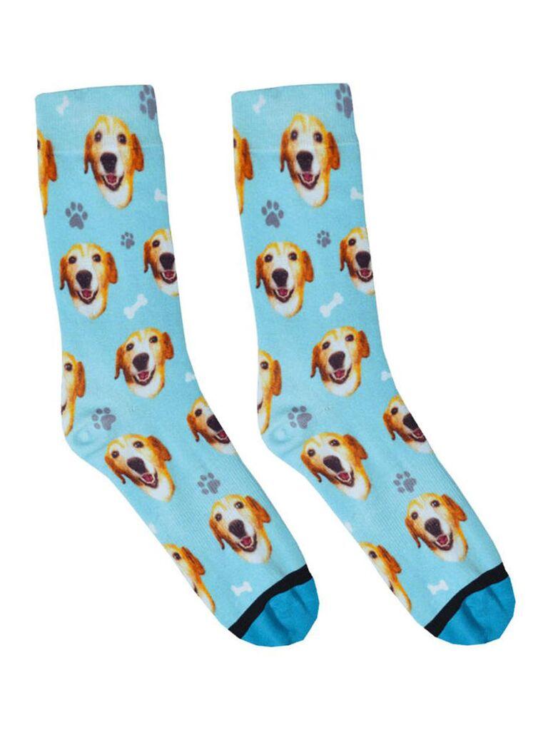 Dog face wedding socks for groom and groomsmen