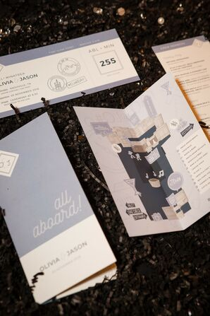 Whimsical Train-Inspired Invitations with Maps and Tickets