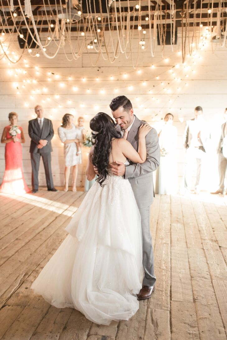 First Dance in Barn with String Lights