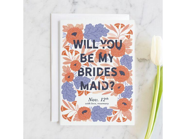 Bridesmaid proposal invitation card