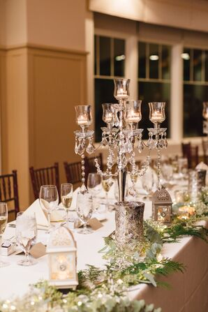 A Silver and Crystal Candelabra