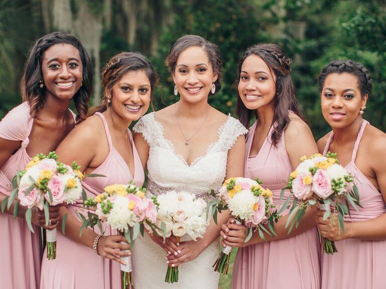 Bridesmaid updo braided headband