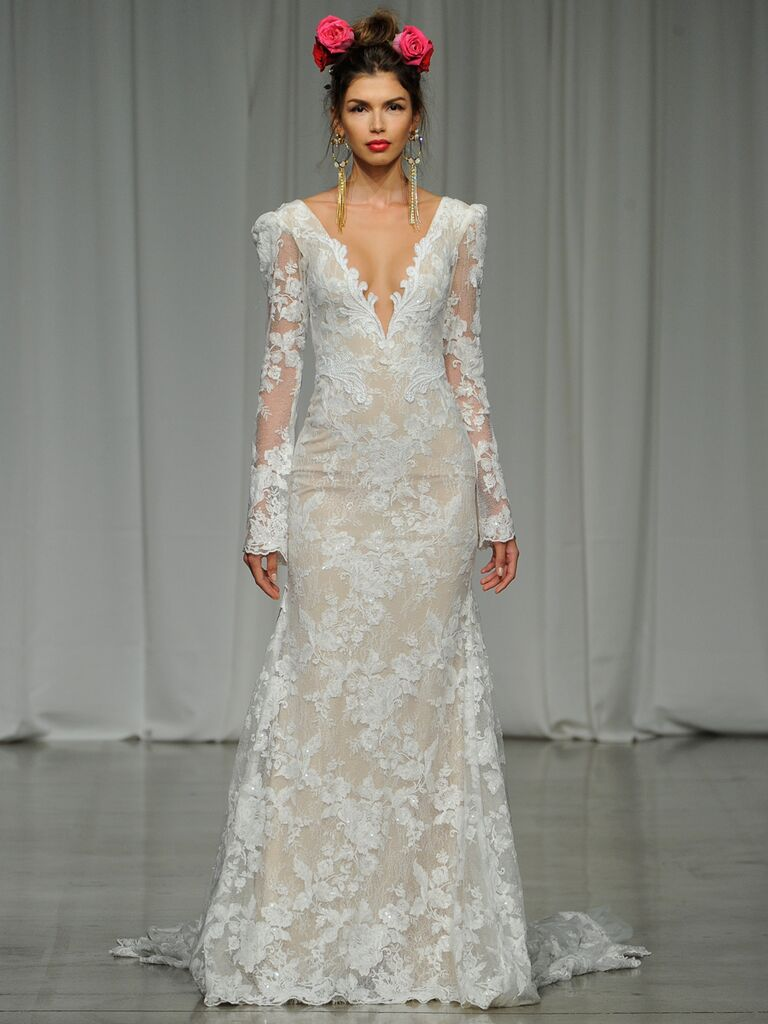 Julie Vino Spring 2019 floral-embroidered lace wedding dress with sheer long sleeves