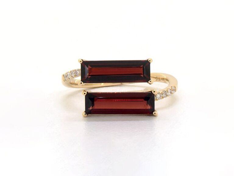 bypass garnet engagement ring
