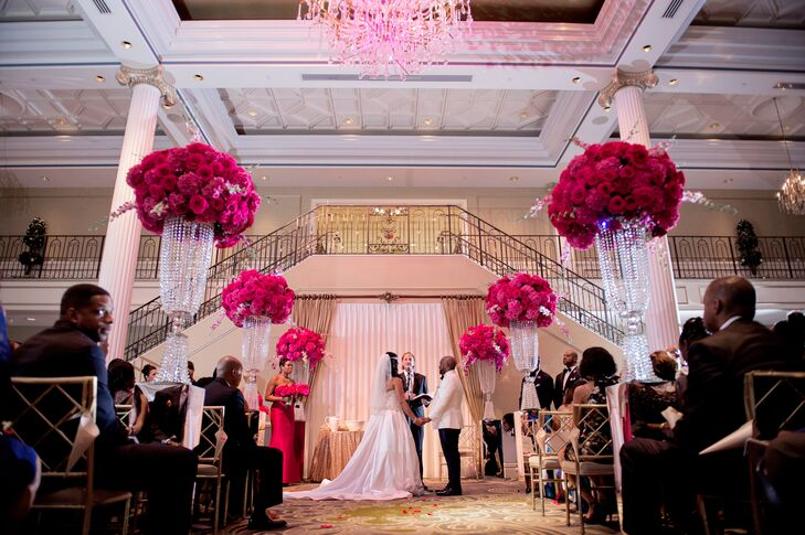 Tall, Crystal-Adorned Arrangements of Lush, Magenta Blooms