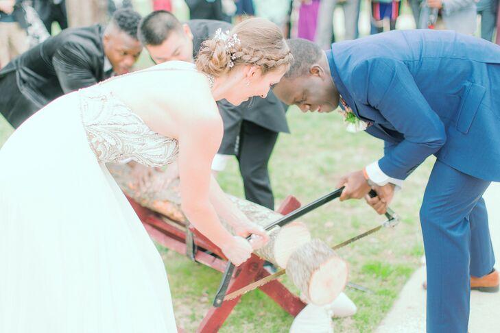 Traditional German Log Cutting at Virginia Wedding